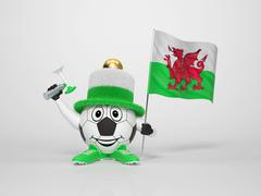 Soccer character fan supporting wales Stock Illustration