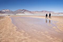 Turquoise mineral lake, San Pedro de Atacama, Chile Stock Photos