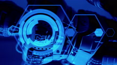 Stock Video Footage of robot and holograms graphics, abstract blue background 4k