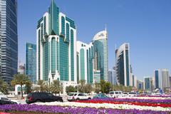 City Centre buildings and Corniche traffic, Doha, Qatar, Middle East Kuvituskuvat