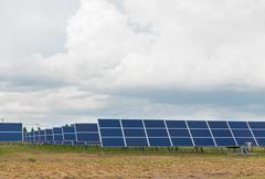 The solar farm for green energy in thailand Stock Photos