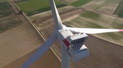 Worker on Windmill - drone flight. 4 Shots in one Stock Footage