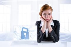 Stock Illustration of Composite image of redhead businesswoman looking unhappy