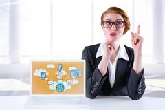 Stock Illustration of Composite image of thinking redhead businesswoman