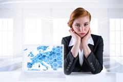 Composite image of redhead businesswoman looking unhappy Stock Illustration