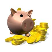 3d render piggy bank and coins illustration Stock Photos