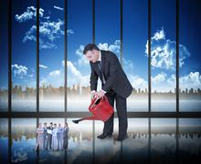 Composite image of mature businessman watering tiny business team Stock Illustration