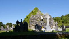 Saint Gobnaits Cemetery Pan Stock Footage