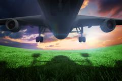 Composite image of airplane taking off - stock illustration