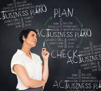 Composite image of thoughtful businesswoman - stock illustration