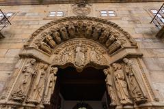 San xerome romanesque building entrance in santiago de compostela Stock Photos