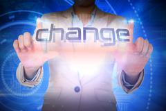 Stock Illustration of Businesswoman presenting the word change