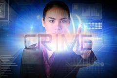 Businesswoman presenting the word crime - stock illustration