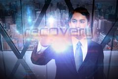 Businessman presenting the word recovery - stock illustration