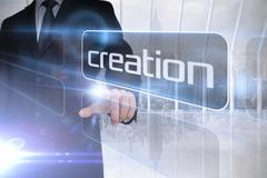 Stock Illustration of Businessman presenting the word creation