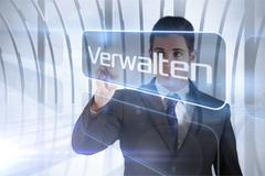 Stock Illustration of Businessman presenting the word manage in german