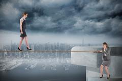 Young businesswoman pulling a tightrope for business woman - stock illustration