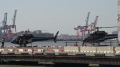 Helicopter landing at platform, Pier 6 in Manhattan, New York Stock Footage