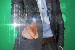 Stock Illustration of Businessman touching the word skill on interface