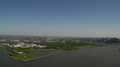 Flying above new Jersey and Staten Island, New York City, USA Stock Footage