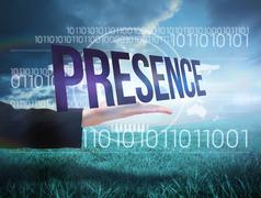 Businesswomans hand presenting the word presence Stock Illustration
