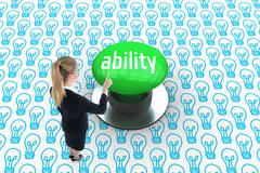 Ability against digitally generated green push button - stock illustration