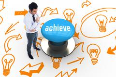 Stock Illustration of Achieve against blue push button