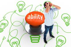 Ability against orange push button - stock illustration