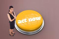 Stock Illustration of Act now against grey vignette