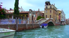 View from water taxi in venice Stock Footage