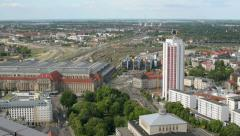 Aerial leipzig germany central station railhead 11398 Stock Footage