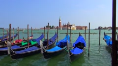 View of gondola's looking out to san giorgio maggiore Stock Footage