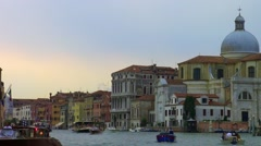 Water traffic on the grand canal in venice Stock Footage