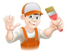 Painter or decorator man - stock illustration