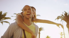 Happy romantic couple having fun outdoors in Italian city - stock footage