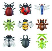 Insect bug icons - stock illustration
