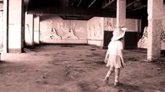 Horror Scene  abandoned little girl in ruined house,sepia Stock Footage