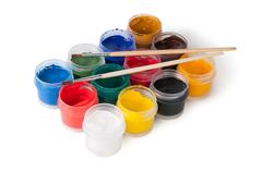 Jars with gouache and paint brushes Stock Photos