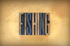 fishing letterpress - stock photo