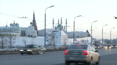 Kazan street with mosque Stock Footage
