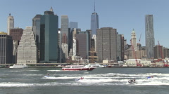 Jet skis freedom tower multi ships Stock Footage