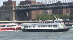Stock Video Footage of Water taxi turns and other boats