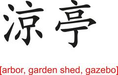 Chinese Sign for arbor, garden shed, gazebo - stock illustration