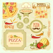 Pizza slice and box Stock Illustration