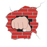 Fist burst through brick wall Stock Illustration