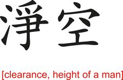 Chinese Sign for clearance, height of a man - stock illustration