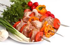 Appetizing shish kebab - stock photo