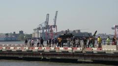 """Tourism walking at helicopter landing platform, Pier 6 in Manhattan, New York Stock Footage"