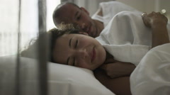 Sexy happy couple, laughing together in the bedroom. Stock Footage