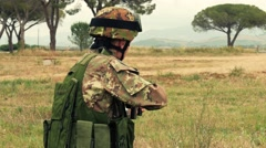 Soldier shooting, training, Grosseto, Italy, 4k Stock Footage